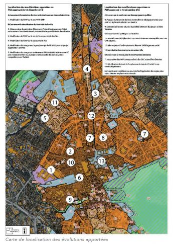 Carte de localisation des évolutions apportées
