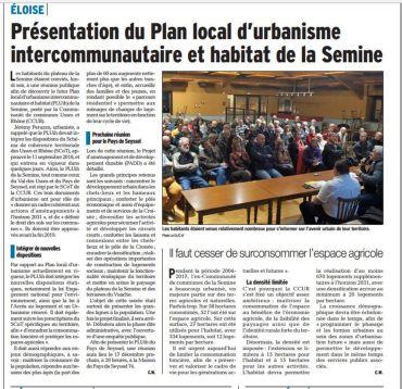 Réunion publique PLU intercommunal de la Semine
