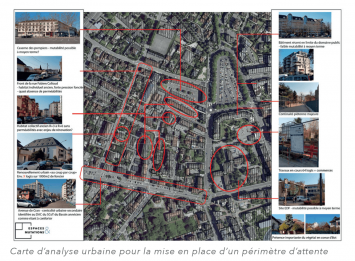 Carte d'analyse urbaine pour la mise en place d'un périmètre d'attente